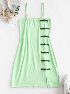 Oriental Frog Button Sheath Dress - Green M