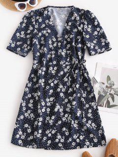 Robe Evasée Nouée Fleurie Imprimée à Pois - Bleu Profond S
