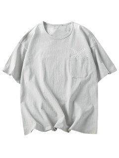 T-shirt Motif De Lettre Avec Une Poche - Gris 2xl
