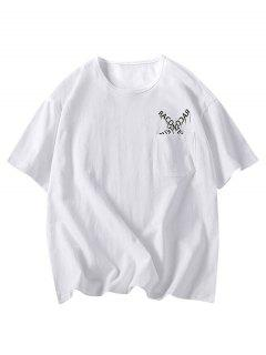 Letters Pattern Tee With One Pocket - White 3xl
