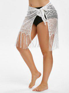 Cover Up Fringed Lace Beach Sarong - White