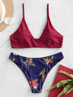 ZAFUL Basic Plant Print Bikini Swimwear - Midnight Blue S