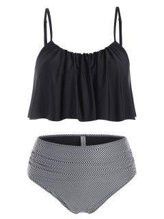 ZAFUL Plus Size Flounce Striped Ruched Tankini Swimwear - Black 2x