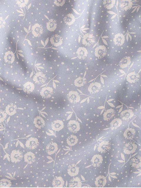 Robe à Bretelle Boutonnée Fleurie Imprimée à Pois - Pourpre  M Mobile