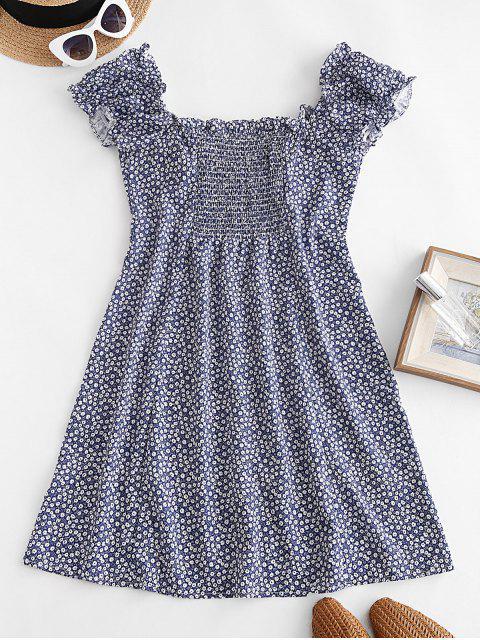 Winzige Blumen Kittel Rücken Geknöpftes Kleid - Tiefes Blau L Mobile
