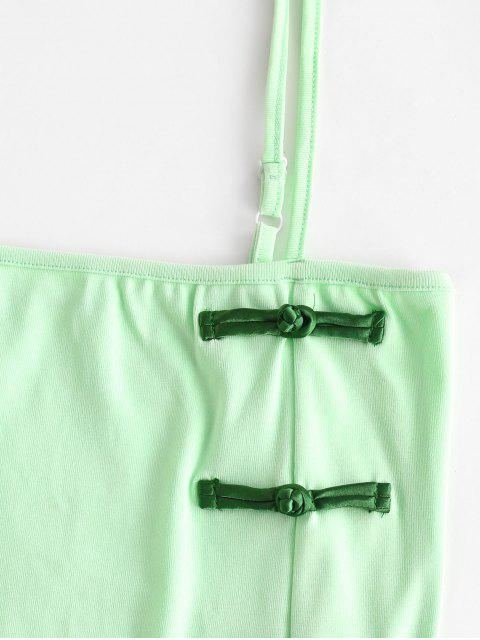 Orientalisches Etuikleid mitFrosch Knöpfen - Grün M Mobile