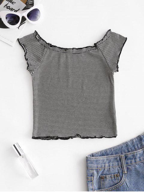 T-shirt Court Rayé à Ourlet en Laitue - Noir Taille Unique Mobile