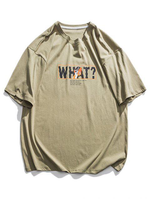 T-Shirt Grafica di Lettere - Verde 2XL Mobile
