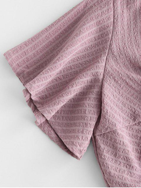 ladies Seersucker Twist Butterfly Sleeve Blouse - PINK L Mobile