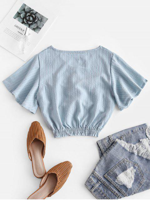 shops Seersucker Twist Butterfly Sleeve Blouse - LIGHT BLUE S Mobile