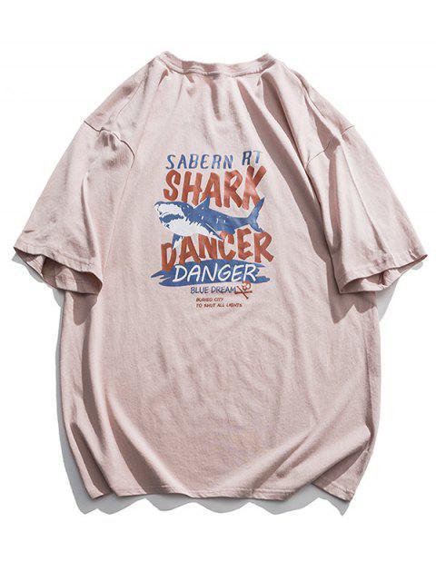 best Shark Dancer Graphic Basic T Shirt - PINK L Mobile