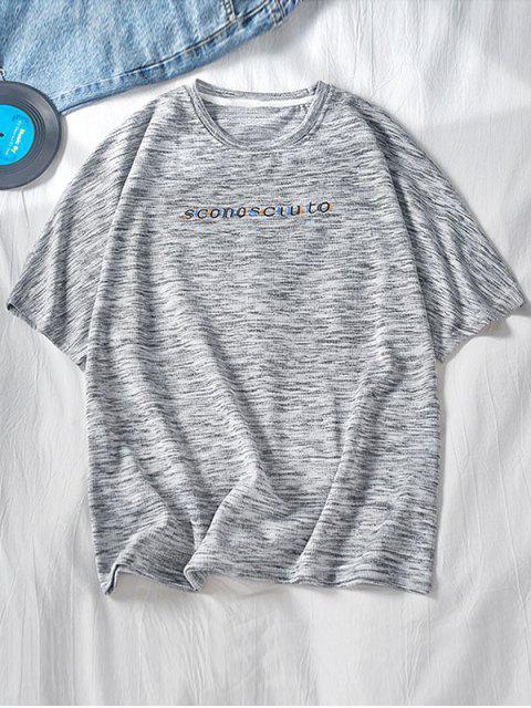 T-shirt Especial de Emagrecimento Gráfico de Mangas Raglan para Homens - Cinza claro XL Mobile