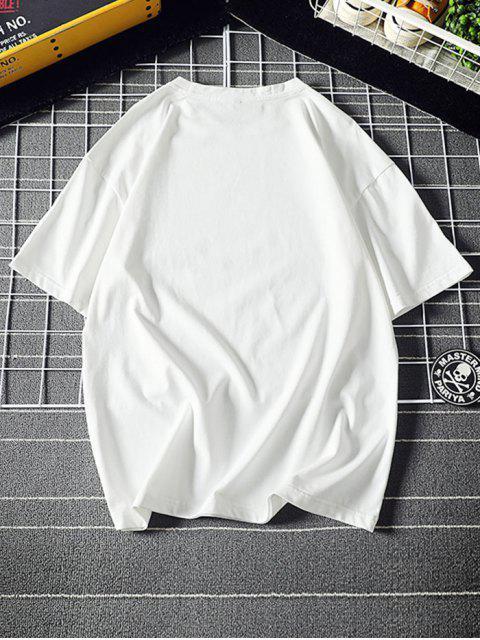 T-Shirt Grafica con Maniche Corte - Bianca 4XL Mobile