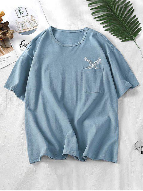 T-Shirt Grafica a Lettere con Tasca - Azzurro 3XL Mobile