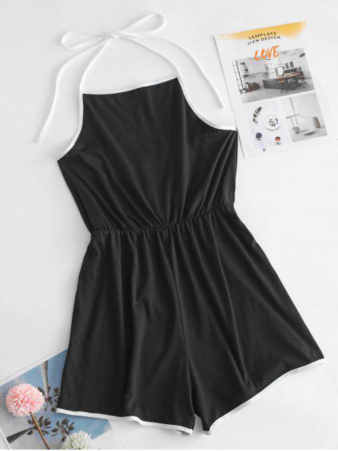 trendy ZAFUL Backless Halter Ringer Romper - BLACK M Mobile