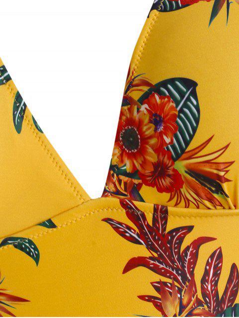 shop ZAFUL Plus Size Floral Leaf Ruffle One-piece Swimsuit - MULTI-A 3X Mobile