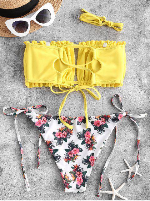ZAFUL Maillot de Bain Bikini Tube Croisé Noué Fleur à Volants - Jaune L Mobile