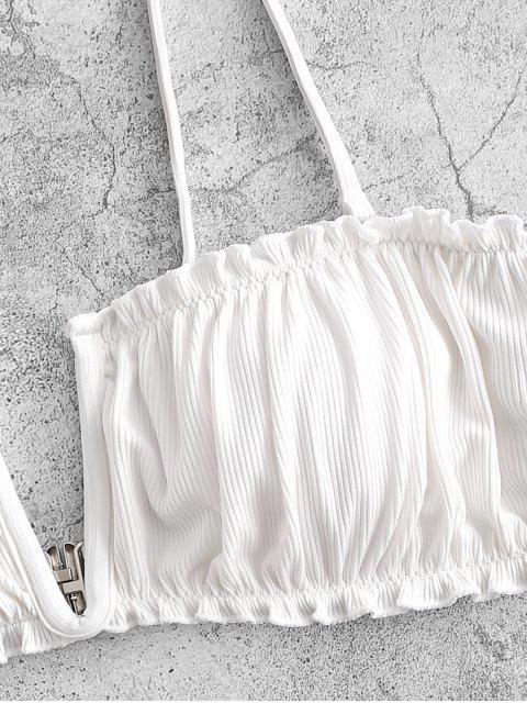 online ZAFUL V-wired Ribbed High Leg Bikini Swimwear - WHITE S Mobile