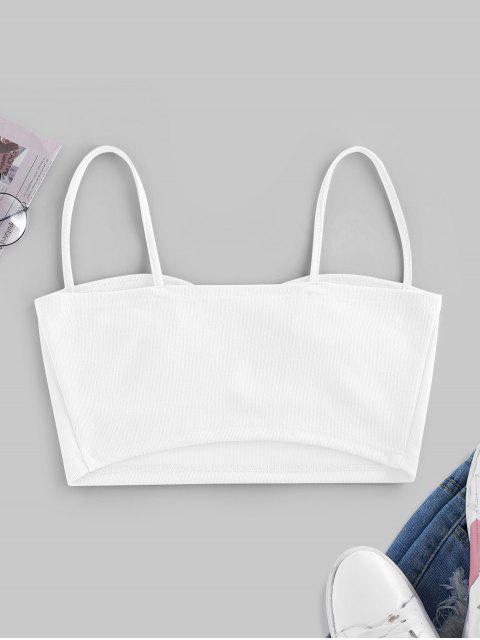 ZAFUL Geripptes Schulterfreies Crop Cami Top - Weiß XL Mobile