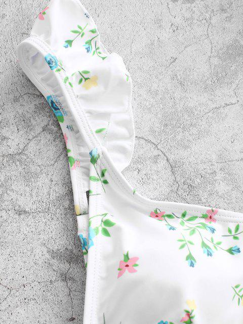 ZAFUL Bikini Badebekleidung mit Rüschen und Pflanzenmuster - Rose M Mobile