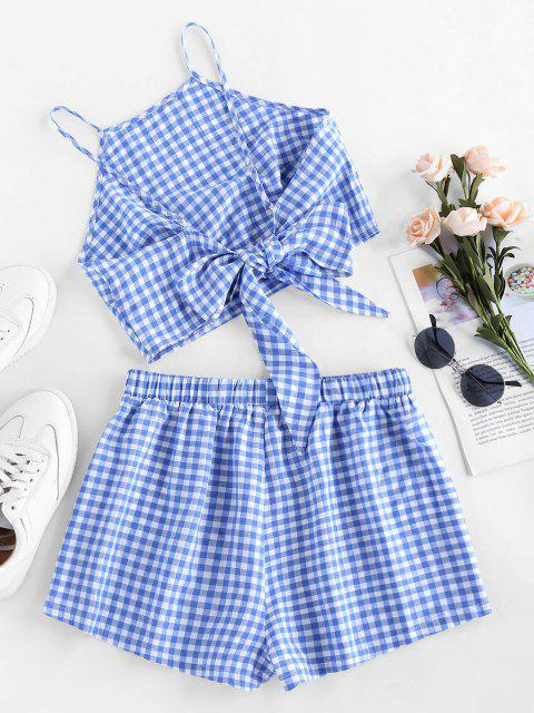 outfits ZAFUL Gingham Bowknot High Waisted Shorts Set - DAY SKY BLUE XL Mobile