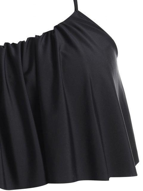 ZAFUL Maillot de Bain Tankini Rayé Plissé de Grande Taille à Volants - Noir 3X Mobile