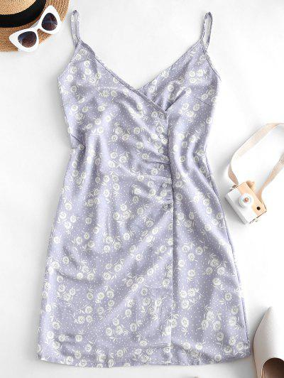 Floral Print Dotted Buttoned Cami Dress - Purple L