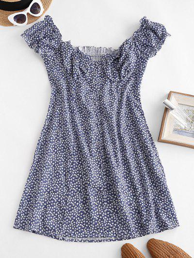 Tiny Floral Smocked Back Buttoned Dress - Deep Blue L