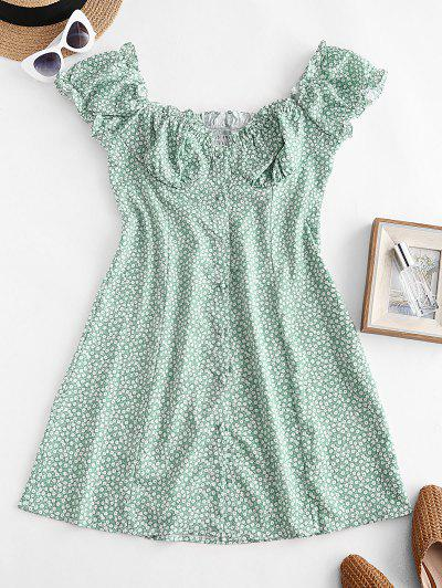 Tiny Floral Smocked Back Buttoned Dress - Green L