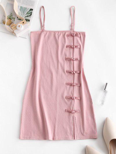 Oriental Frog Button Sheath Dress - Pink M