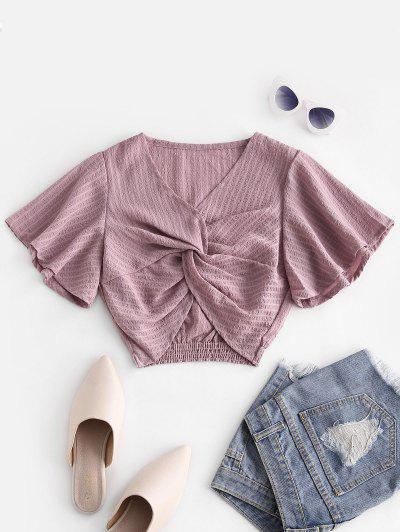 Seersucker Twist Butterfly Sleeve Blouse - Pink S