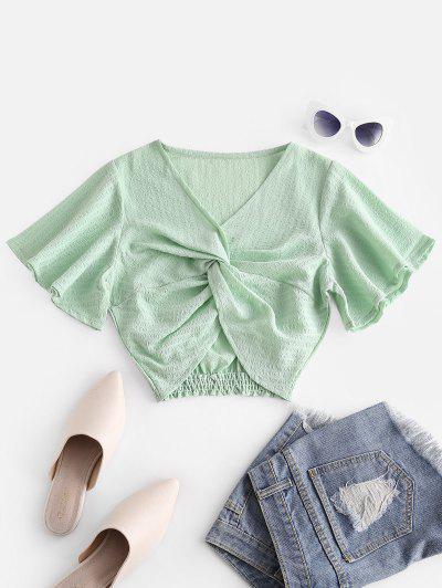 Seersucker Twist Butterfly Sleeve Blouse - Green L