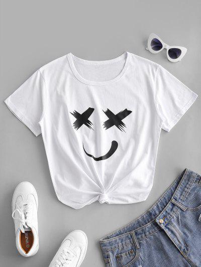 Camiseta Con Estampado De Dibujo Animado Con Mangas Cortas - Blanco S