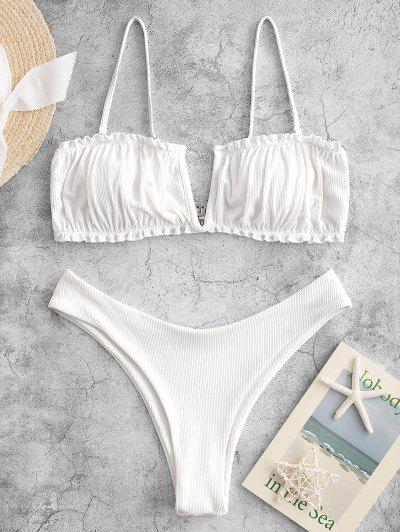 ZAFUL V-wired Ribbed High Leg Bikini Swimwear - White L