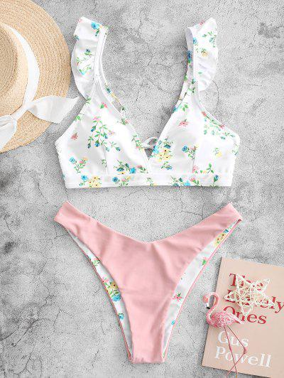 ZAFUL Ruffle Plant Print High Cut Bikini Swimsuit - Rose M
