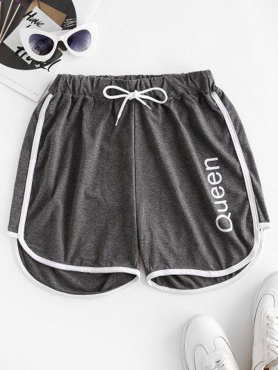 Letter Print Piping Dolphin Shorts - Gray S