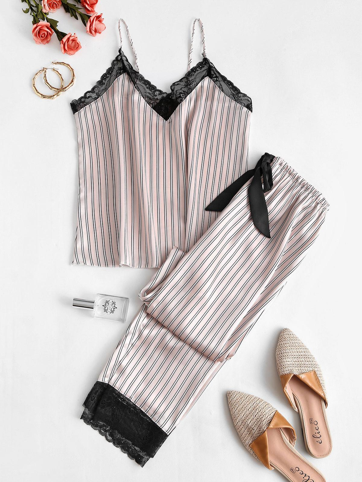 Striped Lace Insert Pajama Pants Set
