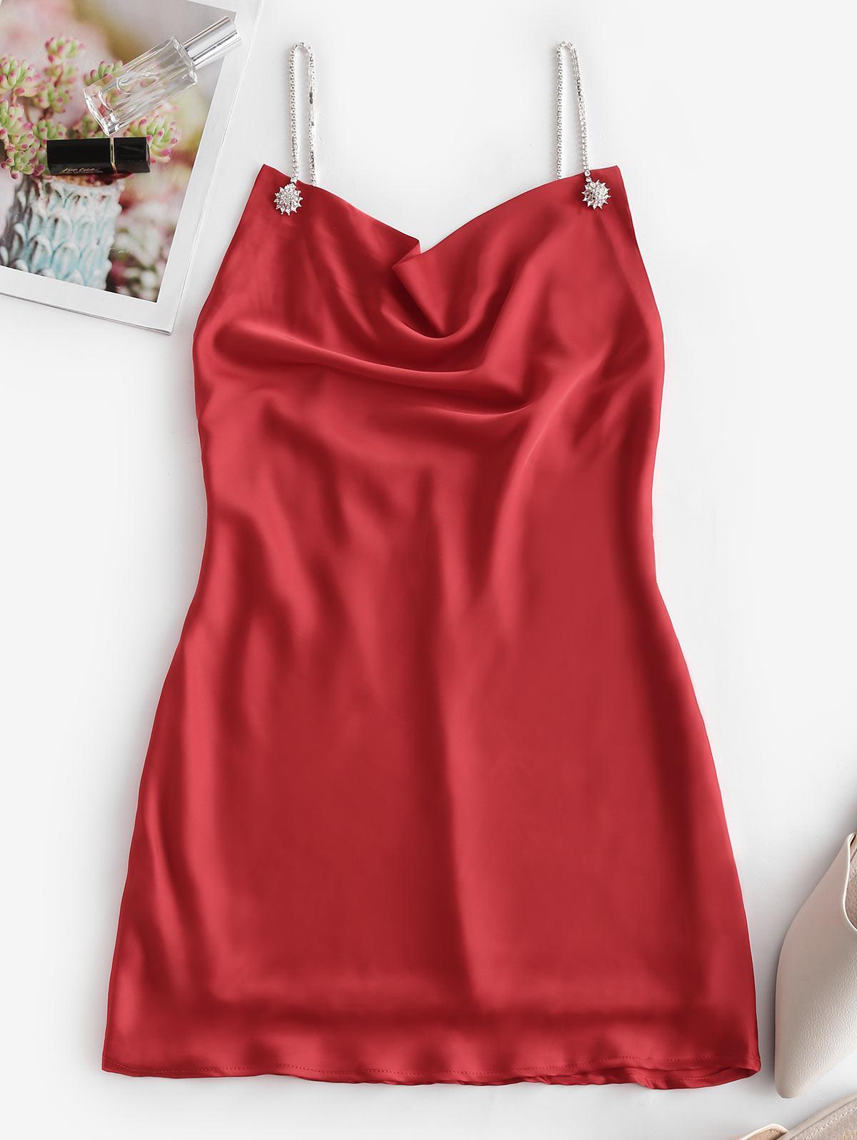 Rhinestone Chain Cowl Neck Satin Slip Dress