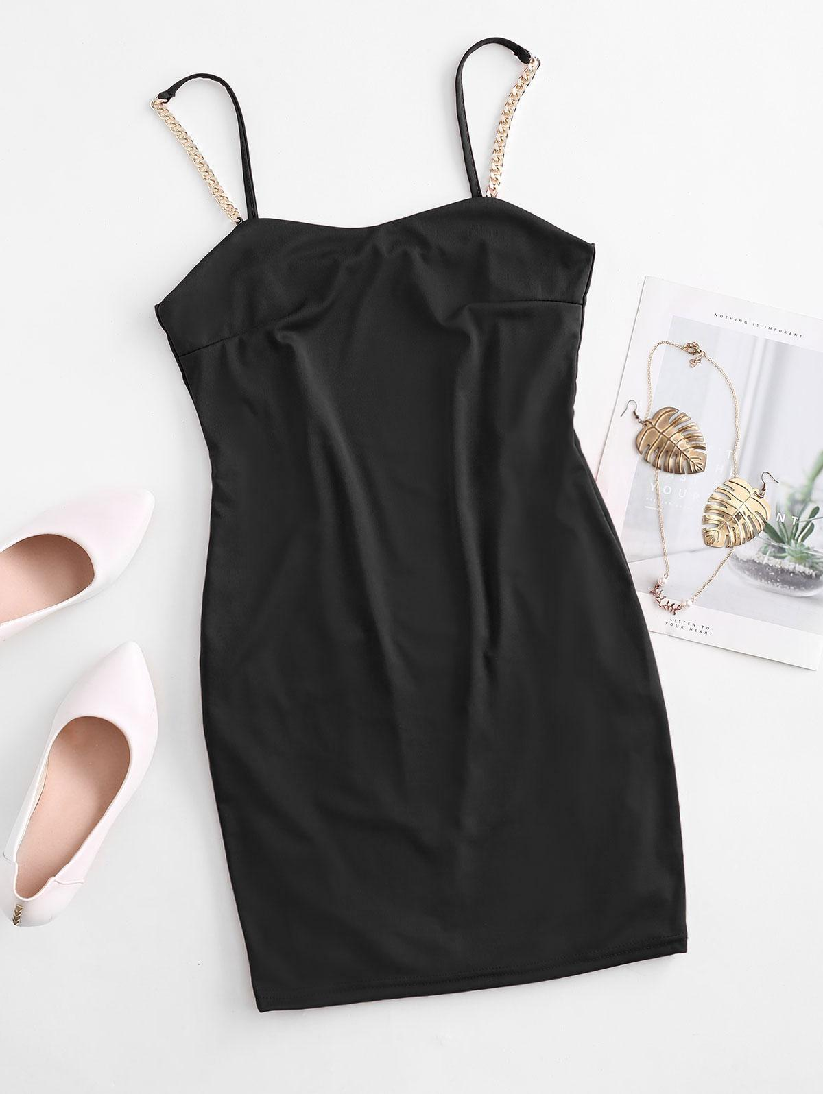 Chain Embellished Bodycon Cami Dress