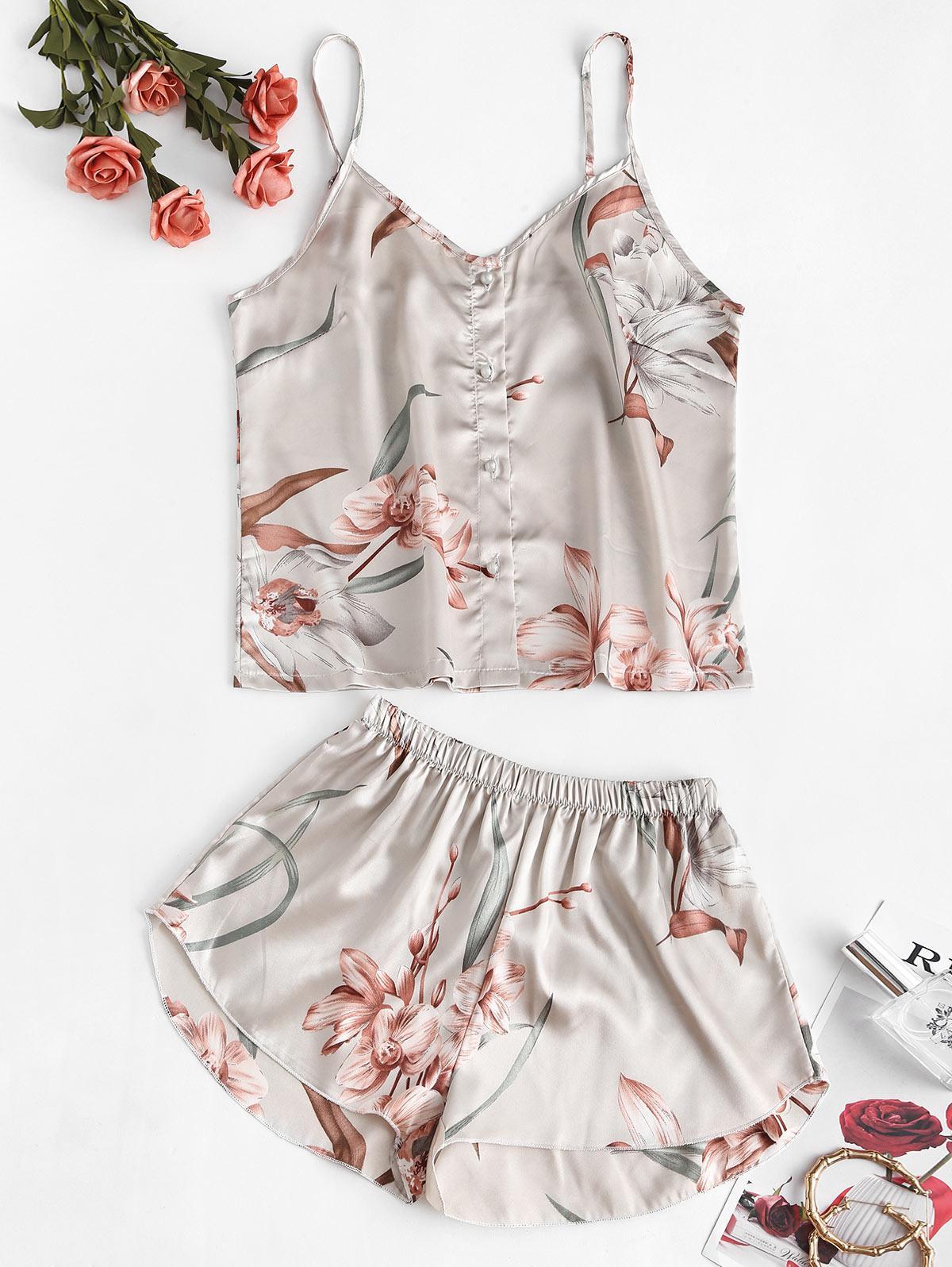 Flower Print Button Up Cami Pajama Short Set