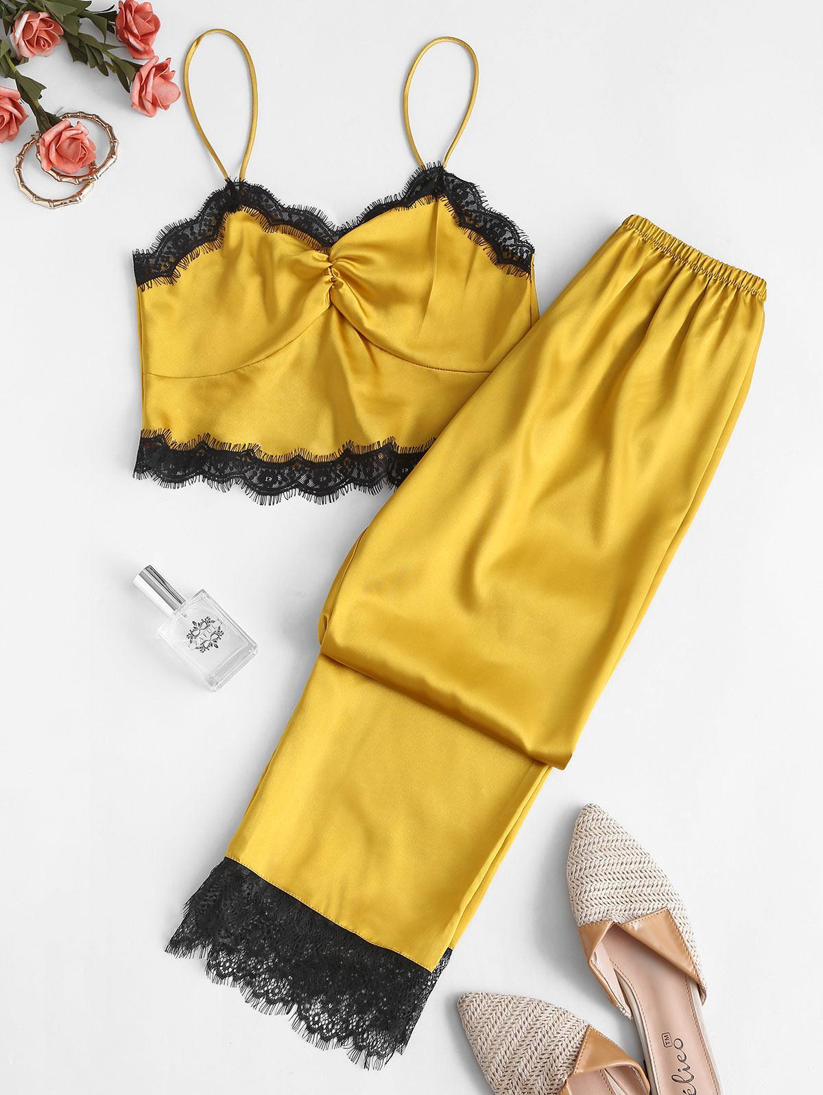 Lace Insert Silky Pajama Pants Set