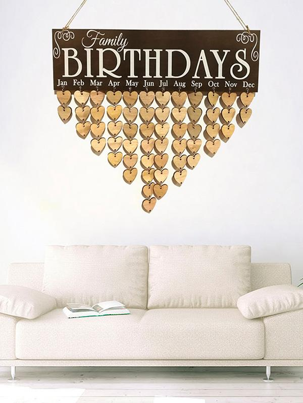 Heart Wall Hanging Family Birthday Wooden Calendar
