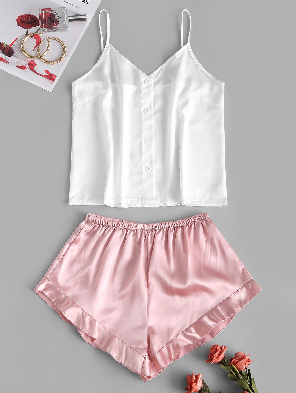 Button Up Colorblock Ruffle Pajama Shorts Set