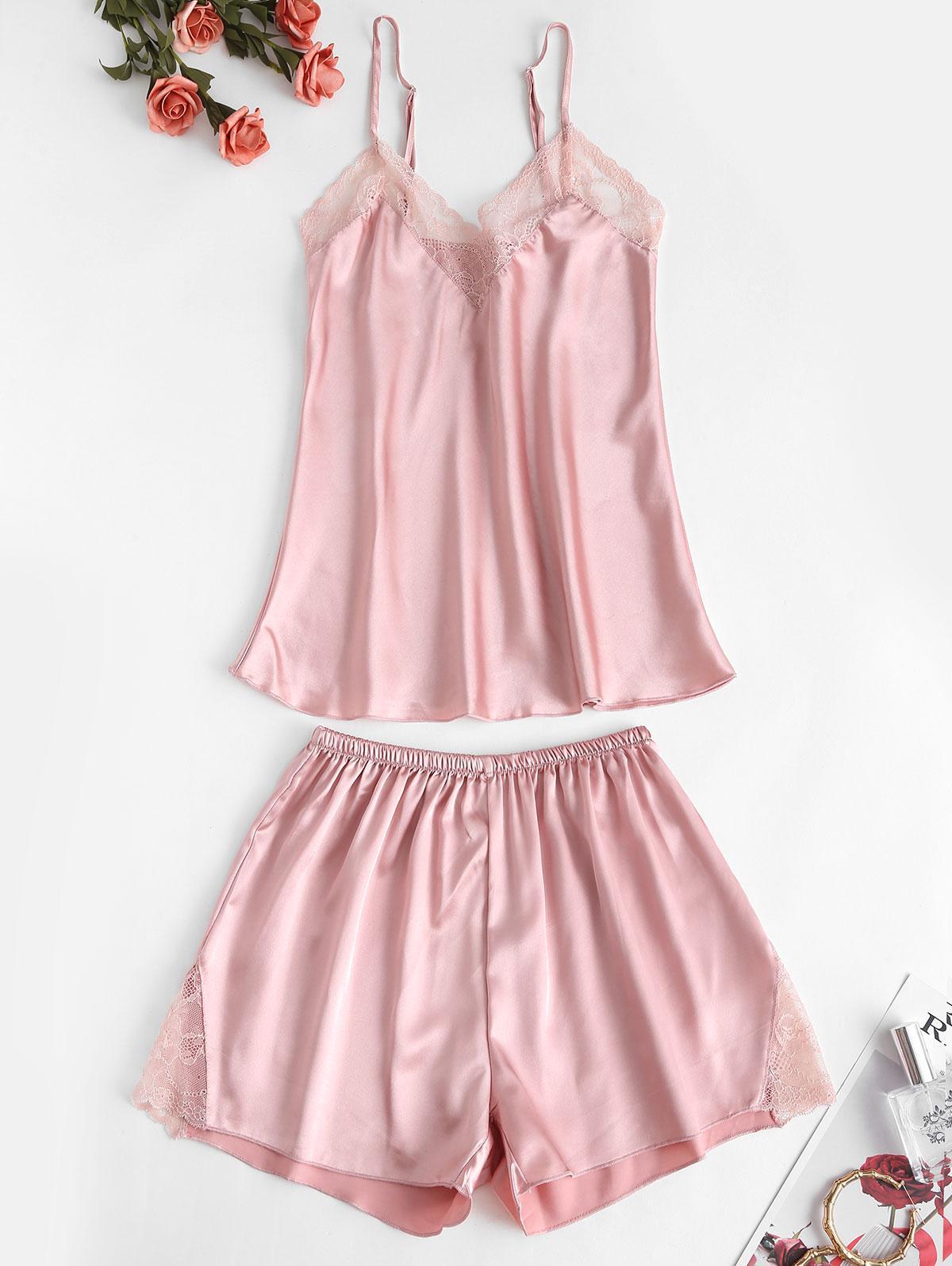 Lace Insert Cami Pajama Shorts Set
