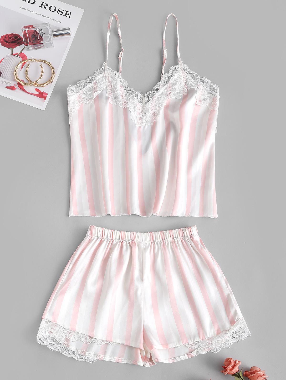 Lace Insert Striped Silky Pajama Shorts Set