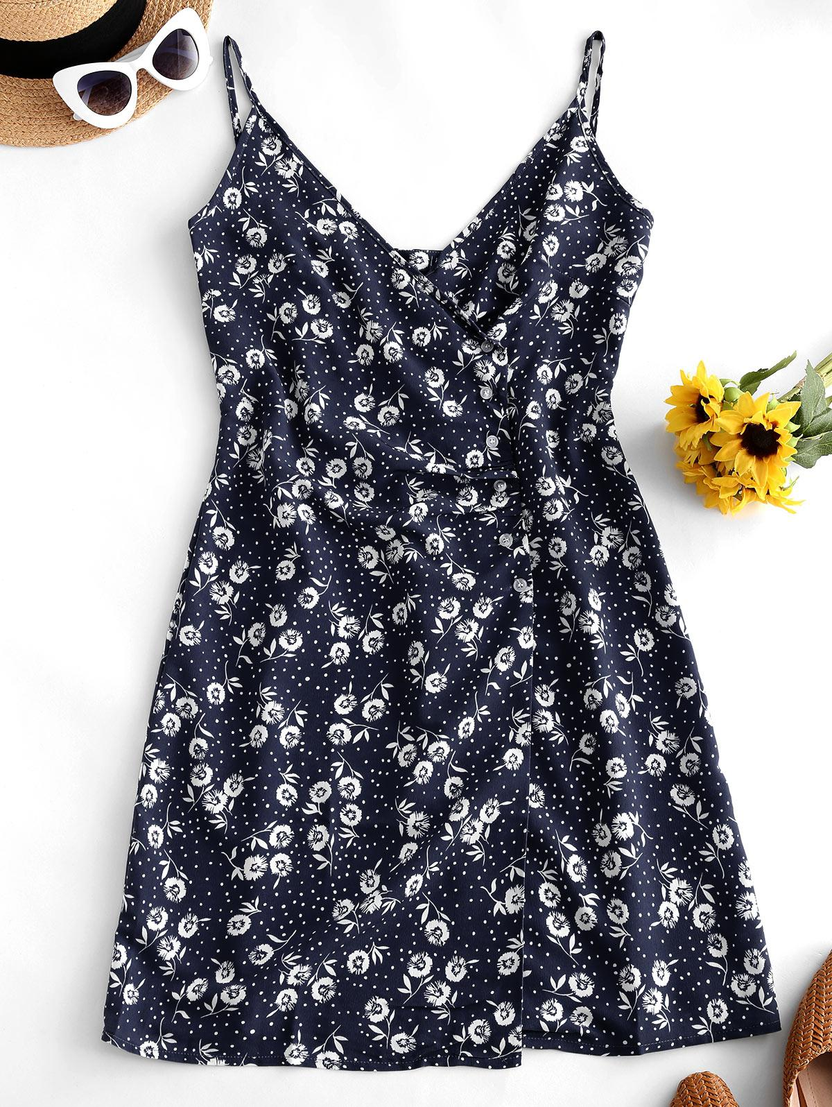 Floral Print Dotted Buttoned Cami Dress