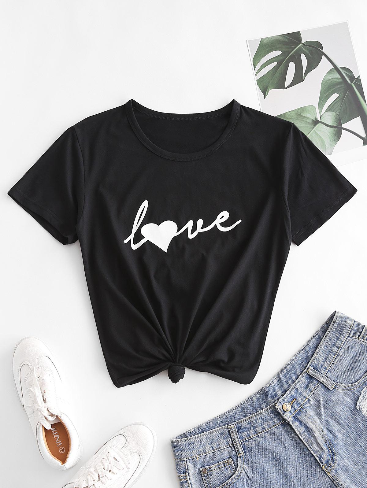 Heart Love Graphic Short Sleeve T-shirt