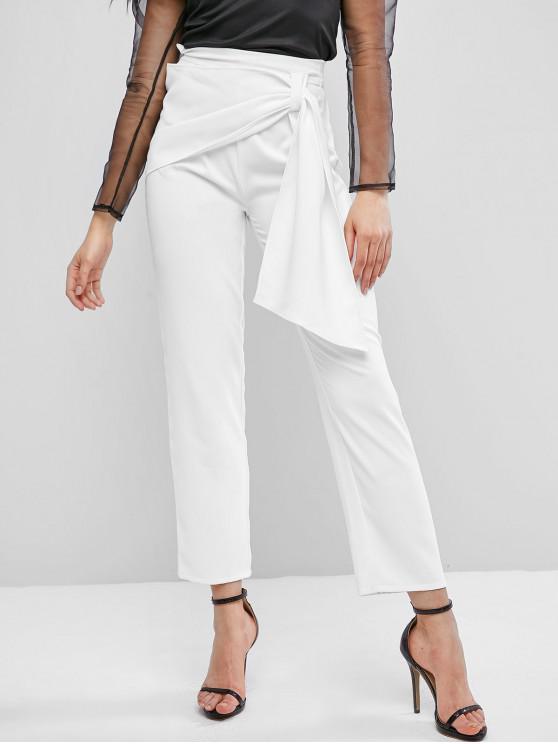 women's ZAFUL High Waisted Overlap Front Straight Pants - WHITE XL