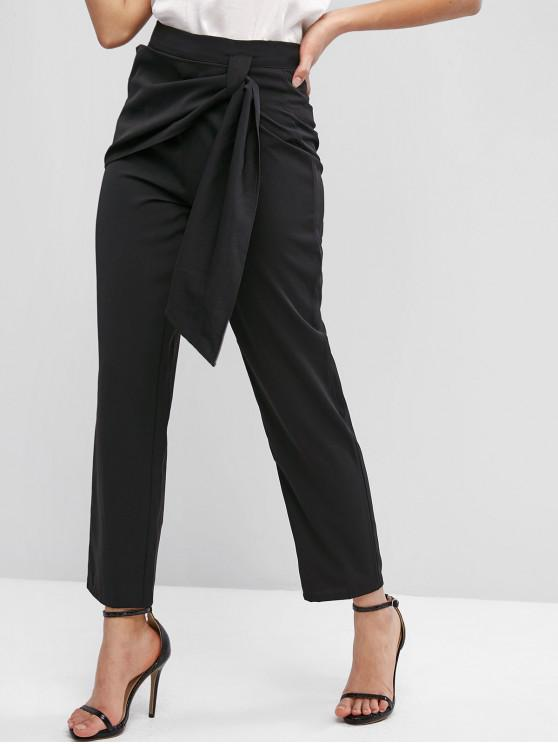 sale ZAFUL High Waisted Overlap Front Straight Pants - BLACK S