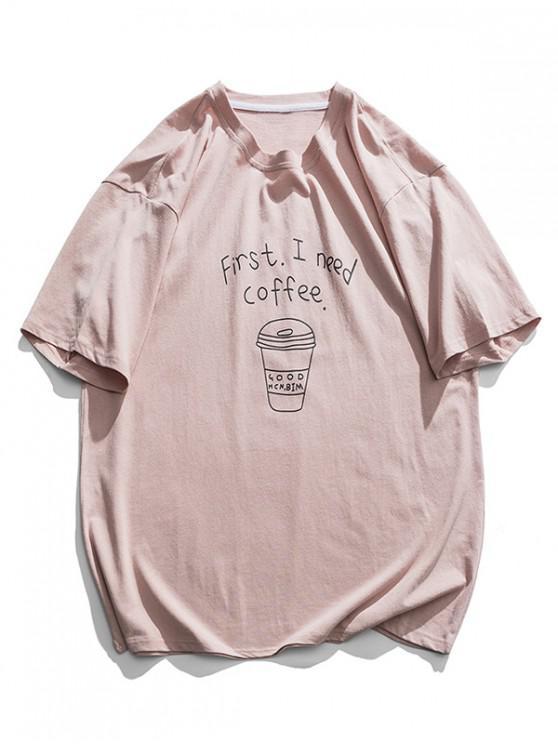 shops Coffee Graphic Basic T-shirt - PINK 2XL